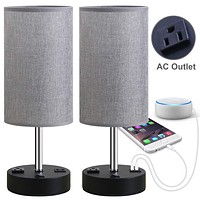 Focondot Table Lamp, Bedside Nightstand Lamps with Dual USB Charging Ports & an AC Outlet, USB Lamp Set of 2 with Gray Cylinder Shade, Stylish Desk Lamp for Bedroom Living Room Office (Grey) 5.9 x 5.9 x 15.4 inches