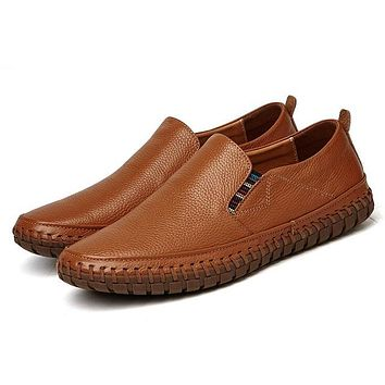 First layer Cowhide casual shoes men white biggest Comfortable and breathable Genuine Leather loafers New fashion