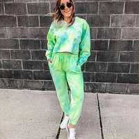 Green Tie-Dye Cropped Shirt w/ Free Pants
