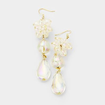 Floral Lucite Ball Link Dangle Earrings