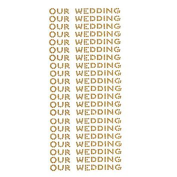Our Wedding Rhinestone Stickers, 1/2-Inch, 140-Count, Gold