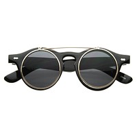 Small Retro Steampunk Circle Flip Up Glasses / Sunglasses
