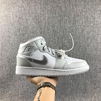 Air Jordan 1 Retro Mid GS Grey Fog Pink Mtllc Silver