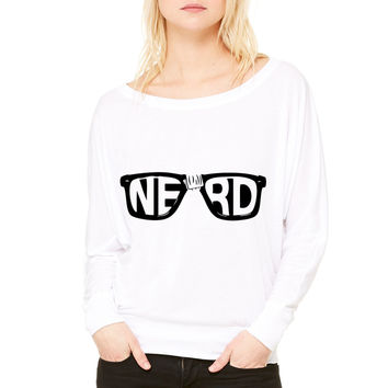 nerd glasses WOMEN'S FLOWY LONG SLEEVE OFF SHOULDER TEE