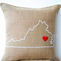 Gift Of Love Customized Burlap Pillow Cover State Map With Heart Pillow Personalized Pillow