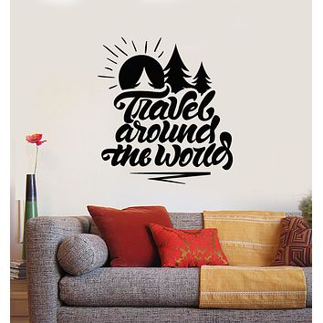 Vinyl Wall Decal Words Travel Around The World Adventure Stickers Mural (g1841)