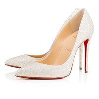 Pigalle Follies 100 Ivory Glitter - Women Shoes - Christian Louboutin