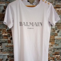 """Balmain"" Unisex Letter Print Cotton T-shirt Couple Buttons Decoration Short Sleeve Top Tee"