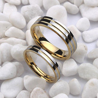 HIS AND HER COUPLE LOVE BAND 14KT YELLOW GOLD ENGAGEMENT AND WEDDING BAND