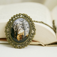 Forest Park Trail at Sunset Photo Jewelry Pendant Necklace, Woodlands Wearable Art