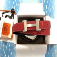 2w Men's Hermes Red/Black Reversible Belt H Buckle 100cm Size 34-36