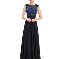 Black Sequined Contrast Applique Panel Maxi Dress