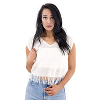 Women's V-neck Top with Fringe Hem