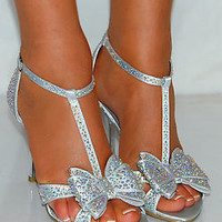 Women Silver Satin Bow Black Diamante Sparkly High Heels Strappy Shoes