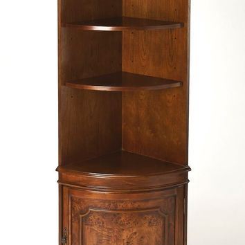 Butler Specialty Company Dowling Olive Ash Burl Corner Cabinet