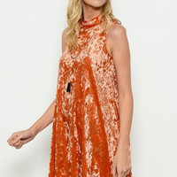 Sweet Mello Mock Neck Velvet Dress