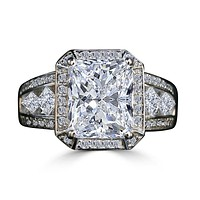 3.5CT radiant Diamond Veneer Cubic Zirconia Sterling Silver Vintage Ring.635R71484