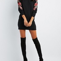 Floral Embroidered Sweater Dress