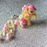 Sweet Wings - Pastel Fluttershy Necklace with Pink Glass Pearls and Iridescent Hearts