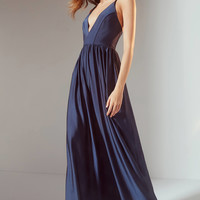 UO Gia Plunging Shimmer Jumpsuit | Urban Outfitters