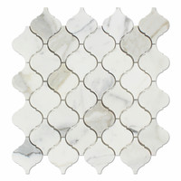 Calacatta Gold Marble Honed Lantern Arabesque Mosaic Tile