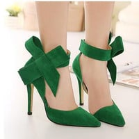 Plus Size Shoes Women Big Bow Tie Pumps 2016 Butterfly Pointed Stiletto Shoes Woman High Heels Wedding Shoes