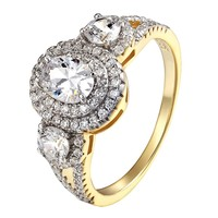 14k Gold Over Sterling Silver Ring Oval Cut Solitaire Wedding Ladies Engagement