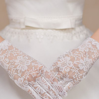 Off White Floral Lace Party Gloves