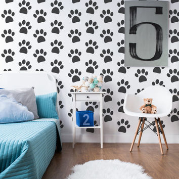 Paw Print Decal, Paw Print Wall Decal, Animal Print Decor, Nursery Wall Decal, Animal Wall Decal, Childrens Wall Decals, Apartment Decor