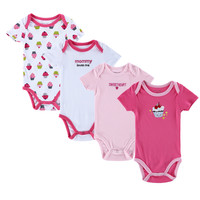 4pcs/lot 100% Cotton Baby Girl Romper Body Baby Clothing Sets Branded Newborn Summer Boy Girl Jumpsuits Body Infantil Clothes