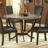 Elegant European Styled 5-Piece Dining Set Round Faux Marble Table Matte Finish