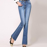 High Waist Flare Jeans Pants Plus Size Stretch Skinny Jeans Women Wide Leg Denim Boot Cuts 4Xl