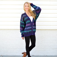 Vintage Gitano Funky Cardigan Tribal Patterned Sweater Cosby Cardigan Purple Blue Chunky Cardigan Sweater Hipster Tumblr Pullover Jumper