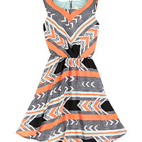 GB Girls 7-16 Tribal-Print Dress - Black/Orange