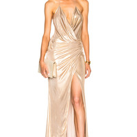 Alexandre Vauthier Jersey Crossover Halter Gown in Gold | FWRD