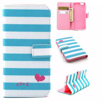 Sky Blue Stripes Love Case Cover PU Leather Wallet for iPhone & Samsung Galaxy S6  iPhone 6s Plus
