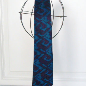 GEO Skinny TIE - Teal - Vintage 80s Geometric Teal Blue & Purple Print Tie - Insignia by Martin Wong - Made in the USA 100% Silk
