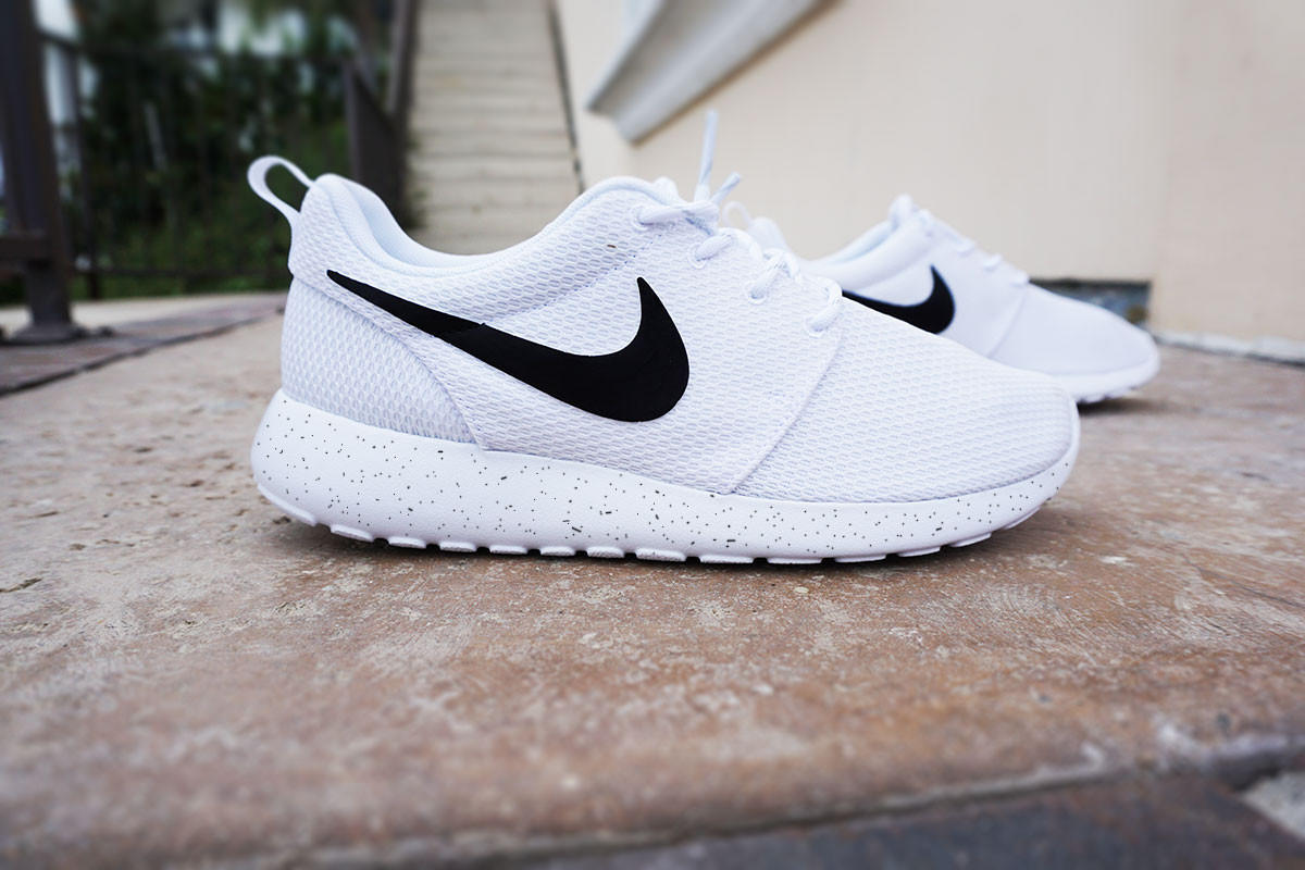 New Surprise 74 Off Nike Roshe Run 2015 Women Custom Black White Shoes