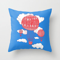 Hot Air Balloon Pillow - Double Sided Throw Pillow - Clouds Pillow - Sky Pillow - Faux Down Insert - Hot Air Balloon Pillow Cover