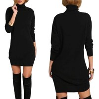 Giraffita Women Sexy High-Necked Long Sleeve Punk Gothic Dress Clothes Slim Black Dress Nightclub Party Fashion Solid Dresses