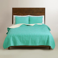 Lagoon Blue and Ivory Simone Reversible Quilt