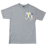 Quiet Life: Ikat Bright Pocket T Shirt - Heather Grey