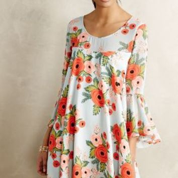 Fluttered Blooms Swing Dress by Paper Crown + Rifle Paper Co. Blue Motif
