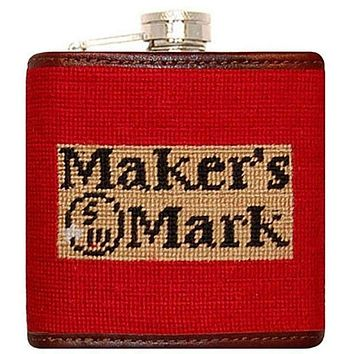 Maker's Mark Needlepoint Flask in Red by Smathers & Branson