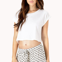 FOREVER 21 Dainty Floral Sleep Shorts Cream/Grey Small