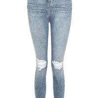 MOTO Mid Blue Ripped Jamie Jeans   Topshop