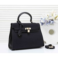 Hermes Fashion New Leather Shopping Leisure Shoulder Bag Women Handbag Black