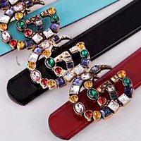 Gucci Fashion Women Belt Multicolor Diamond Belt Multicolor Agate Colorful
