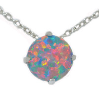 8mm Black Opal Heart Pendant .925 Sterling Silver Rhodium Finish White Gold Quality