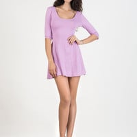 Orchid Tied Backless 3/4 Sleeve Skater Dress